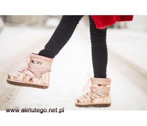 Stylowe buty zimowe śniegowce damskie - Pantofelek24
